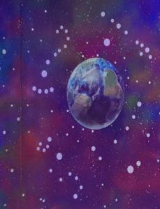 lumentics-Wandaufkleber in Form der Erde bei Tag